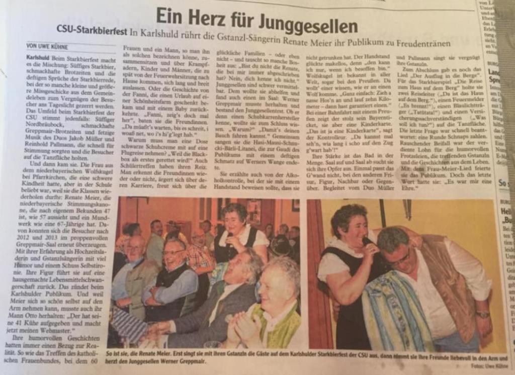 Zeitungsausschnitt Karlshuld CSU Starkbierfest