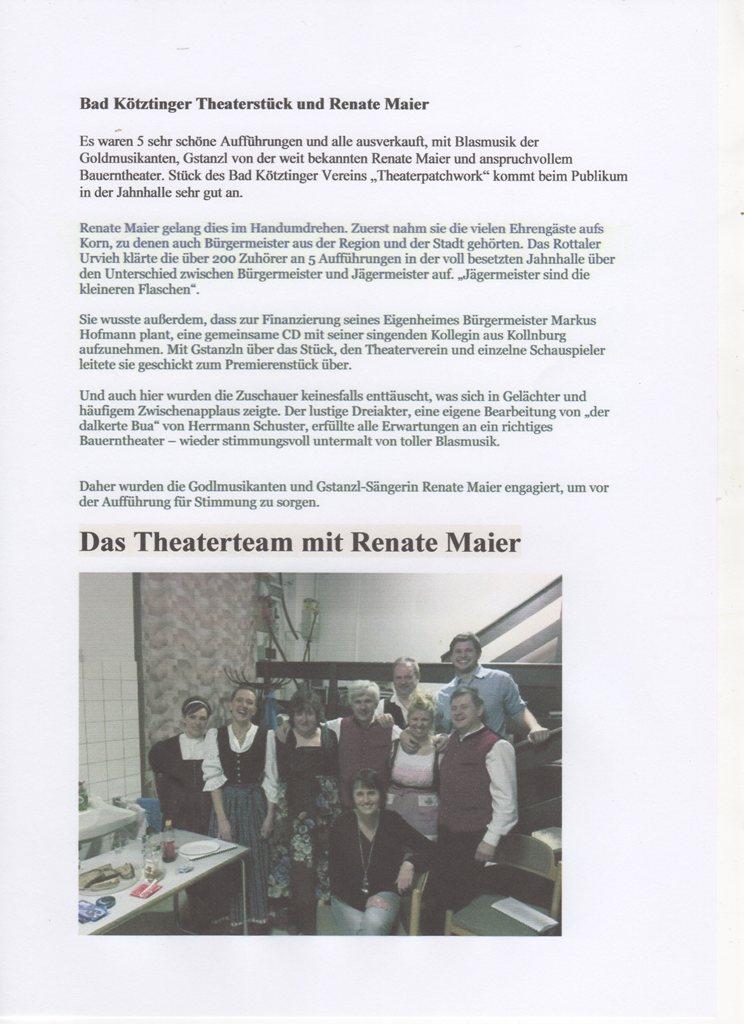 Bad Kötzting Theater Zeitungsausschnitt Bad Kötzting