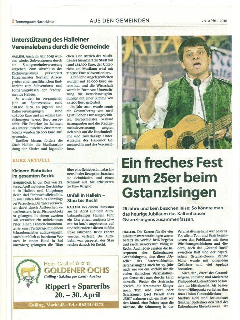 Zeitungsausschnitt Kaltenhausen